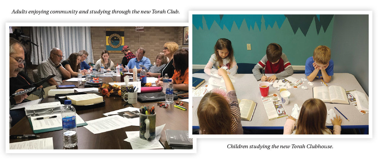 Torah Club families study together